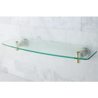 Satin Nickel/ Polished Brass Bathroom Glass Shelf
