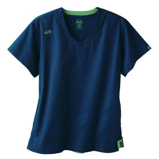 IguanaMed Women's Newport Navy Dual Swirl Scrubs Top