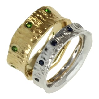 Michael Valitutti Two-tone Chrome Diopside and Blue Sapphire Stacking Rings