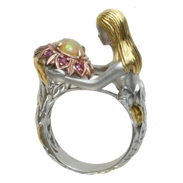 Michael Valitutti Two-tone Ethiopian Opal and Pink Sapphire 'Flower Lady' Ring