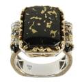 Michael Valitutti Two-tone Goldenite, Black Onyx and Black Diamond Ring