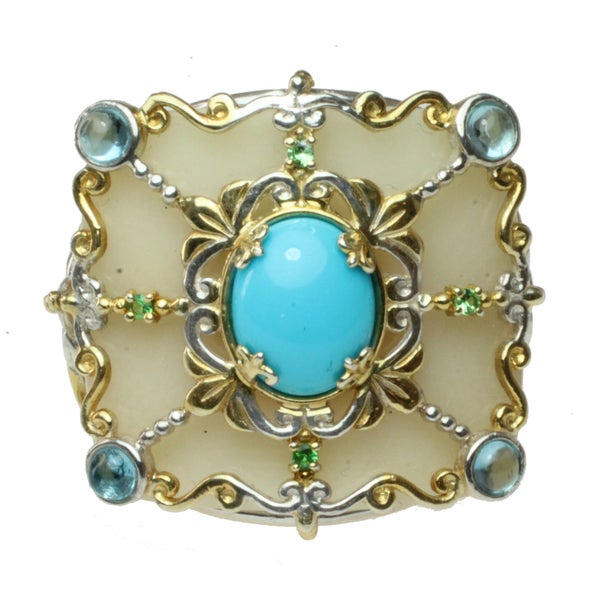 Michael Valitutti Two-tone Vegetable Ivory, Sleeping Beauty Turquoise, Swiss Blue Topaz and Chrome Diopside Ring