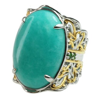 Michael Valitutti Two-tone Amazonite and Chrome Diopside Ring