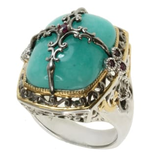 Michael Valitutti Tri-color Amazonite, Ruby and White Sapphire Ring