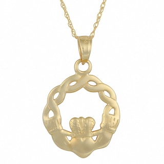 Fremada 14k Yellow Gold Claddagh Braid Pendant with Delicate Rope Chain Necklace (18 inch)