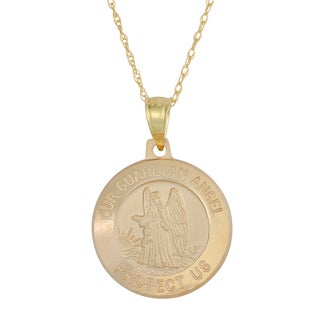 Fremada 14k Yellow Gold Guardian Angel Medal Pendant with Delicate Rope Chain Necklace (18 inch)