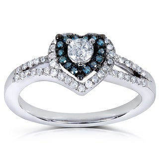 Annello 14k White Gold 1/2ct TDW Blue and White Diamond Engagement Ring (H-I, I1-I2)