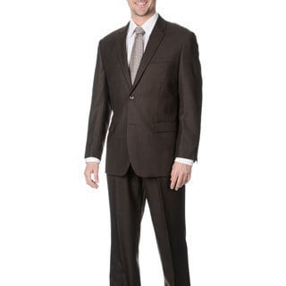 Martino Men's 'Wool Rich' Brown Wool Blend Suit