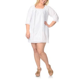La Cera Women's Plus-size Crochet Swim Cover-up