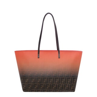 Fendi Orange and Tobacco Two-tone Zucca Roll Tote