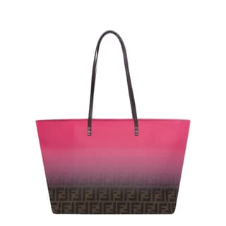 Fendi Pink and Tobacco Two-tone Zucca Roll Tote