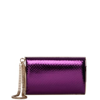 Jimmy Choo 'Carmen' Bilberry Metallic Patent Leather Clutch with Chain Wristlet