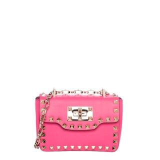 Valentino 'Rockstud' Fuchsia Grainy Leather Mini Crossbody Bag