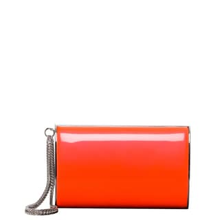 Jimmy Choo 'Carmen' Neon Flame Patent Leather Clutch with Chain Wristlet