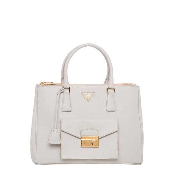 green prada handbag - Prada \u0026#39;Galleria\u0026#39; Ivory Saffiano Leather Front-pocket Tote ...