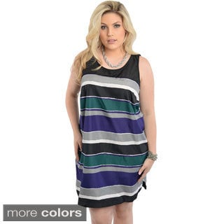 Stanzino Women's Plus Size Striped Short Tank Dress