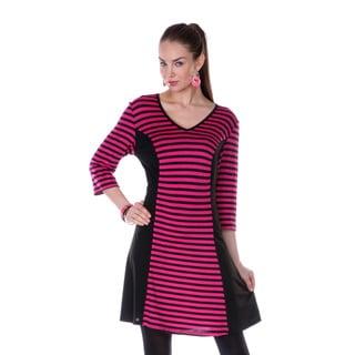 Firmiana Women's Black/ Pink Stripe 3/4-length Sleeve Dress