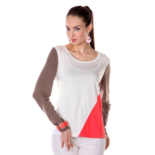 Firmiana Women's Cream Colorblock Long-sleeve Shirt