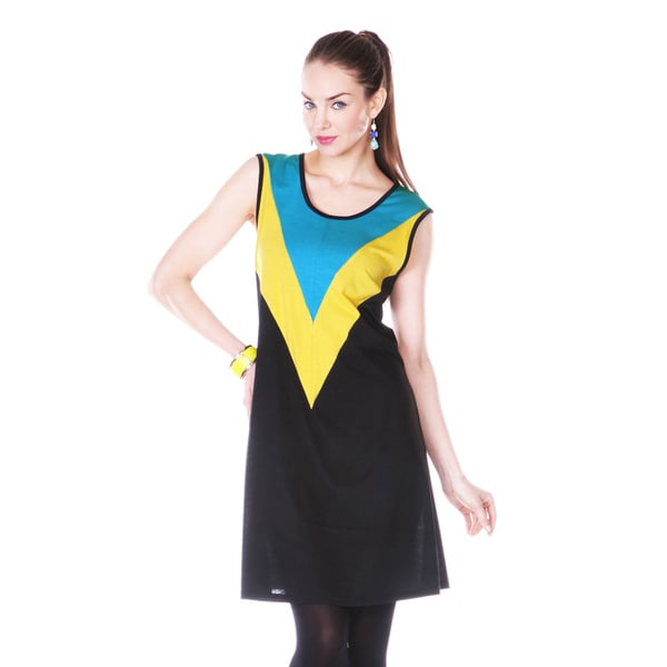 Firmiana Women's Blue/ Yellow Colorblock Sleeveless Dress