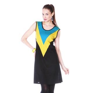 Firmiana Women's Blue/ Yellow Colorblock Sleeveless Dress