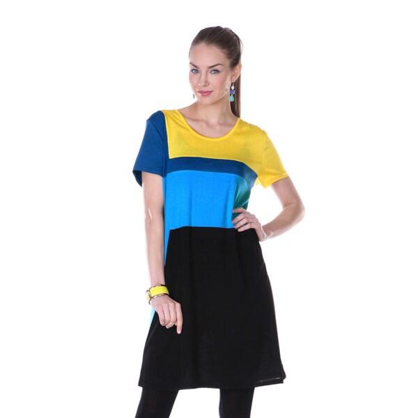 Firmiana Women's Short-sleeve Colorblock Dress
