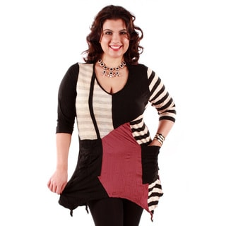 Women's 3/4-length Sleeve Patchwork Plus Size Top