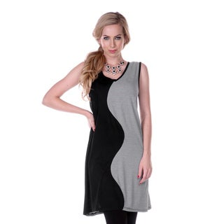 Women's Black/ Grey Striped Sleeveless Dress