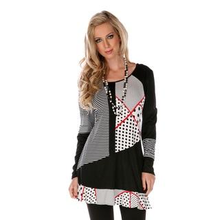 Women's Patchwork Long-sleeve Ruffle Top