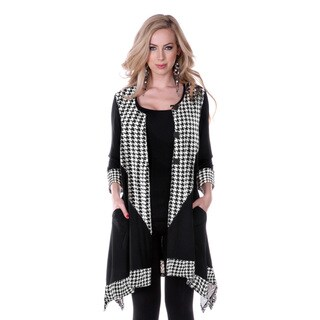 Women's Houndstooth Long-sleeve Button-up Top