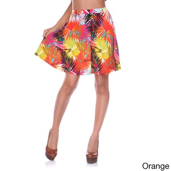 White Mark Women's Floral Skater Skirt