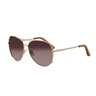 Vernier Women's Goldtone Stone Aviator Sunglasses