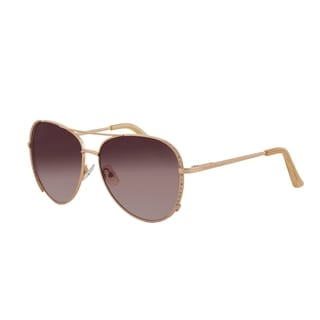Vernier Women's Rose Goldtone Stone Aviator Sunglasses