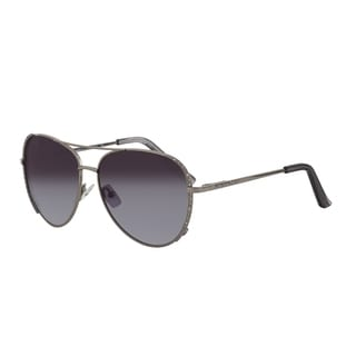 Vernier Women's Gunmetal Stone Accent Aviator Sunglasses