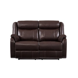 Double Reclining Brown Bonded Leather Loveseat