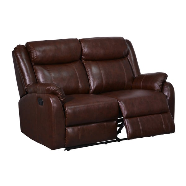Double Reclining Brown Bonded Leather Loveseat - 16231118 - Overstock