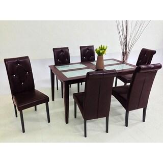 7-piece Brown Dita Glass Table Dining Set