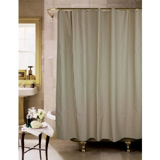 Sorrento Black And Tan Stripe Shower Curtain