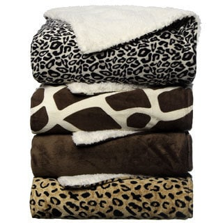 Animal Print Sherpa Decorative Throw Blanket