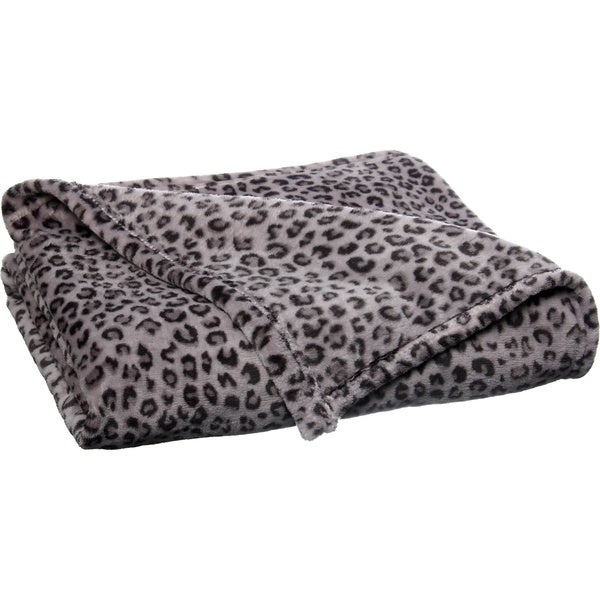 Snow Leopard Grey Luxury Plush Printed Throw