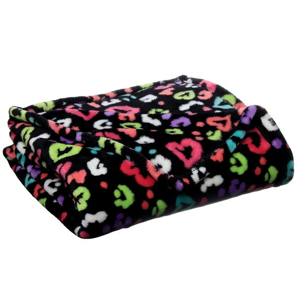 Neon Hearts Luxury Plush Printed Throw
