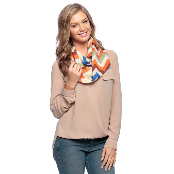 Brown/Multi Silky Chevron Infinity Scarf
