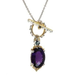 Michael Valitutti Two-tone Amethyst, London Blue Topaz and Blue Sapphire Toggle Necklace