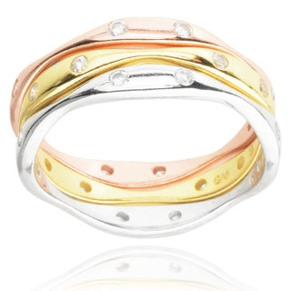 Journee Collection Tri-tone Sterling Silver Cubic Zirconia Stackable Ring Set
