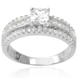 Tressa Collection Sterling Silver Cubic Zirconia Bridal-style Ring