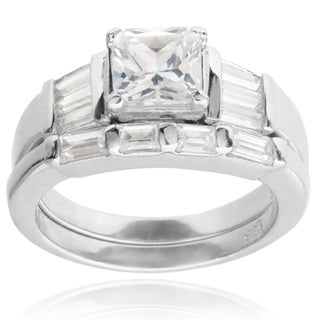 Tressa Collection Sterling Silver Princess-cut Cubic Zirconia Bridal-style Ring Set