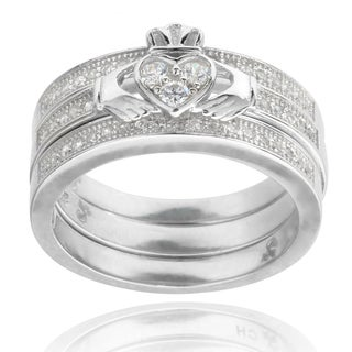 Journee Collection Sterling Silver Cubic Zirconia Celtic Claddagh Ring Set
