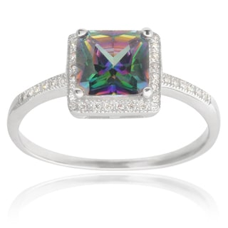 Tressa Collection Sterling Silver Mystic Topaz Cubic Zirconia Bridal-style Ring