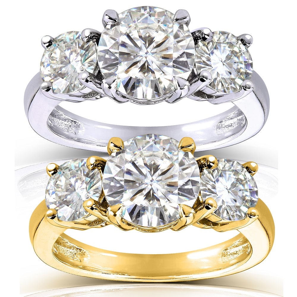 Annello 14k Gold 2 1/2ct CTW Round-cut Moissanite Three-Stone Engagement Ring at Sears.com
