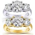 Annello 14k Gold 2 1/2ct CTW Round-cut Moissanite Three-Stone Engagement Ring