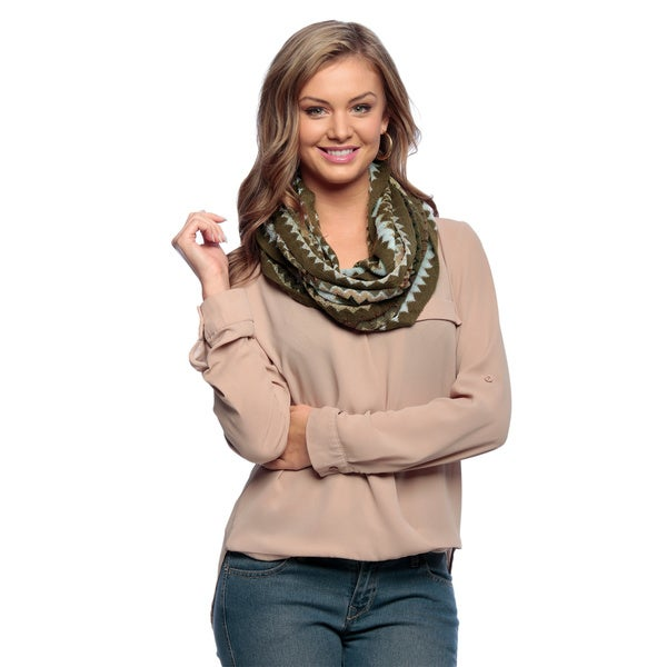Hunter Green Chevron Zigzag Knitted Loop Scarf